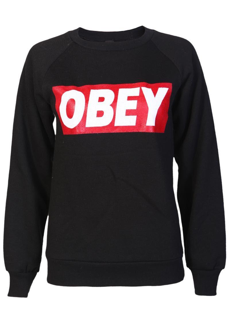 Obey Sweatshirt in Black - Womens Clothing Sale, Womens Fashion ...
