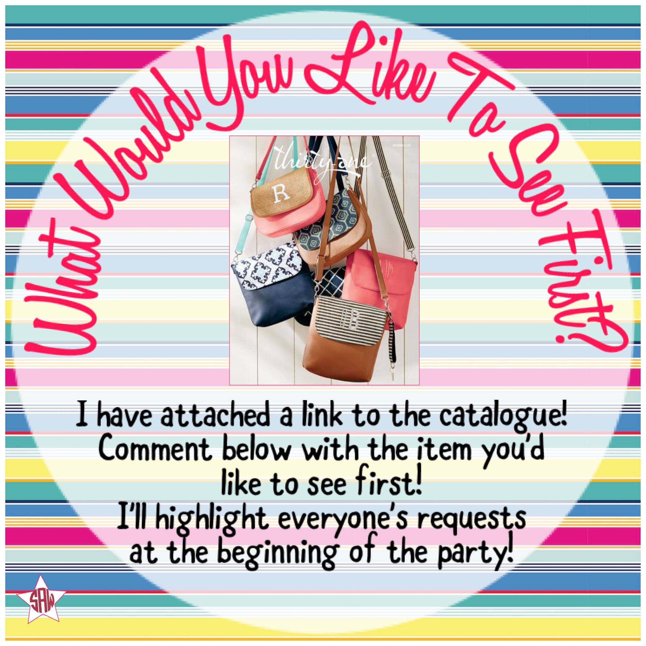 What Would You Like To See First Interactive Graphic For Online Facebook Party Event Thirty Thirty One Facebook Thirty One Party Graphics Thirty One Business