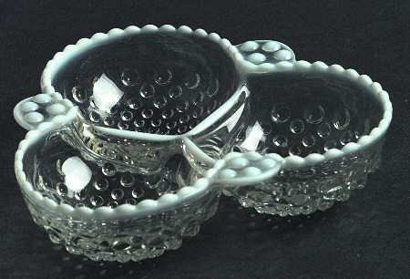 Vintage 3Part Relish Dish in the MoonstoneClear by Pickerchicks