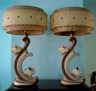 Wacky Lamps pair of 1950's continental art co. atomic flower chalkware lamps