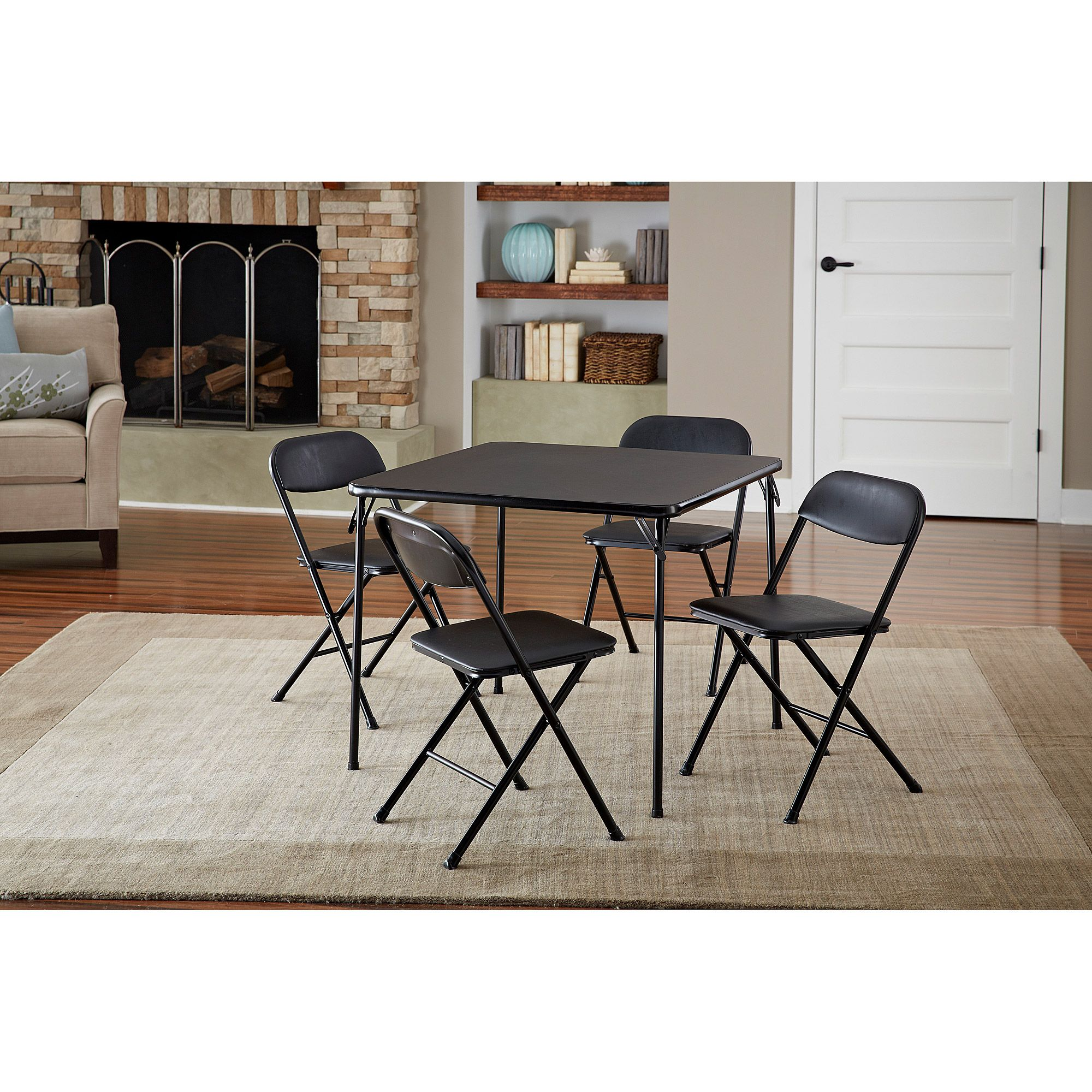 - Cosco 5-Piece Card Table Set, Black Table And Chair Sets, Card