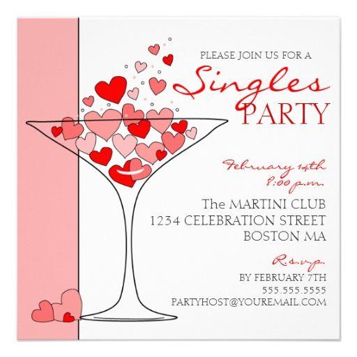 Valentine Singles Party Heart Cocktail Invitation