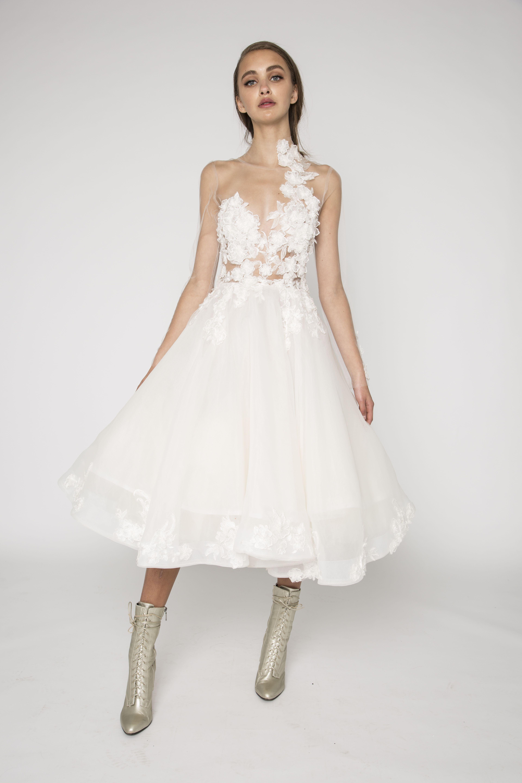 Bridal Midi Dress The Meri Is A That Designed To Be: Midi Wedding Dress Illusion At Reisefeber.org