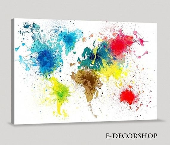 Big Canvas Art Modern Watercolor Abstract Ink Splash Big: Colorful Abstract World Map Canvas Art Print