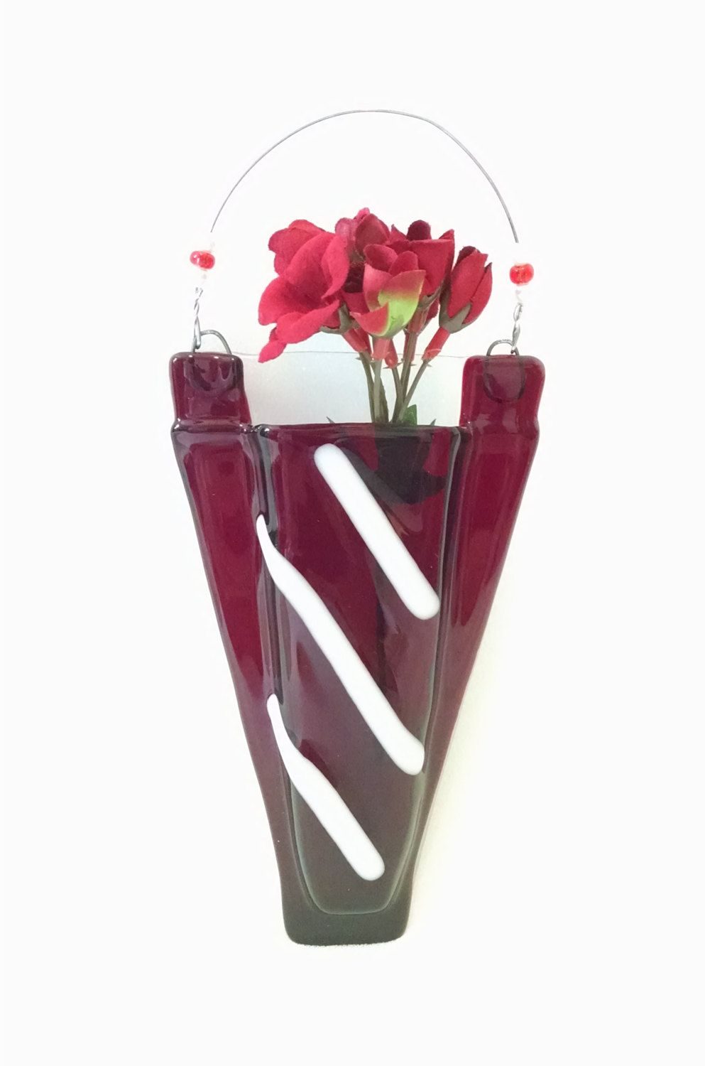 Fused glass pocket vase wall vase red and white wall hanging fused glass pocket vase wall vase red and white wall hanging home reviewsmspy