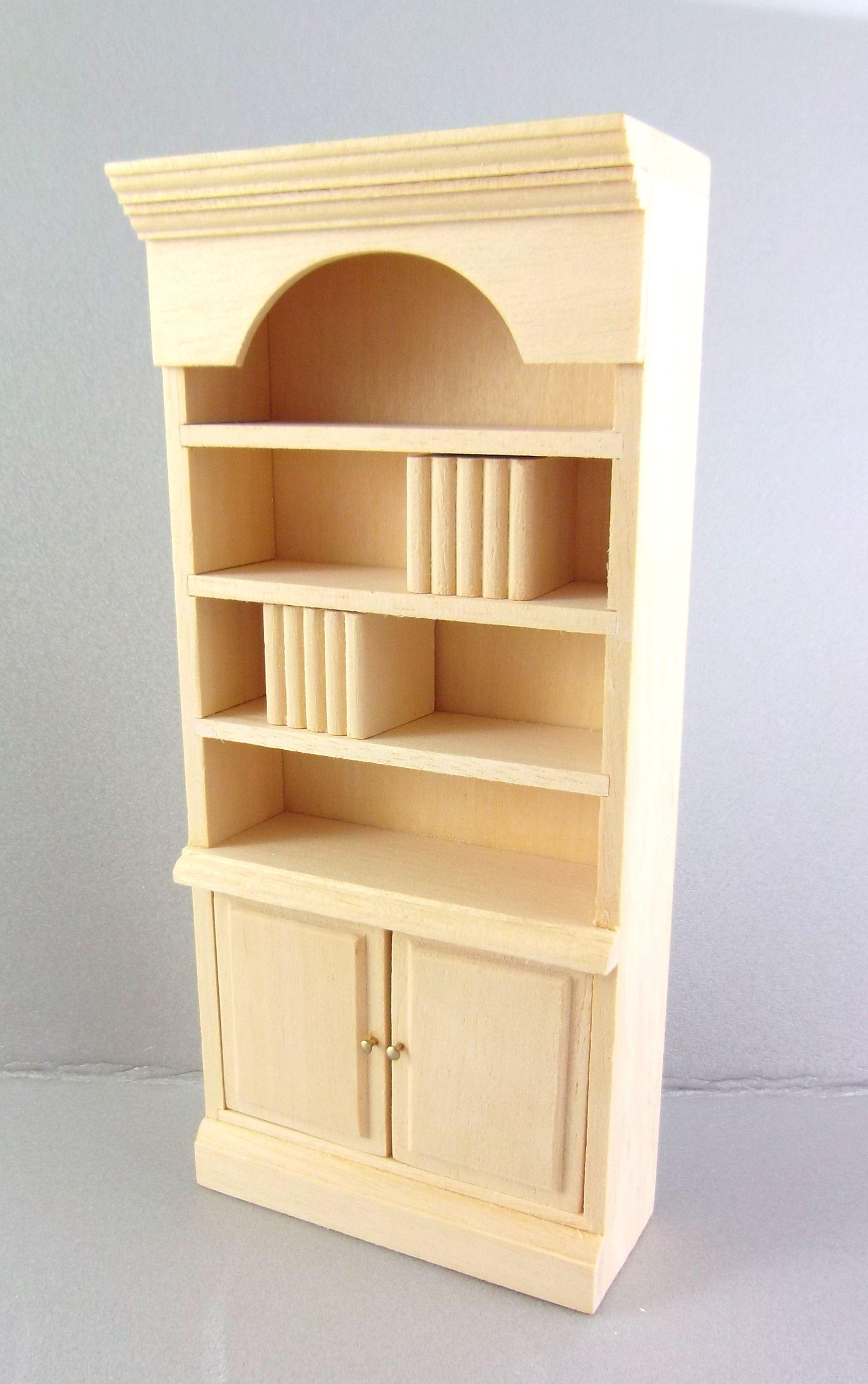 Dolls House Miniature 1:12 Unfinished Furniture Natural Wood Bookcase Shelf  Unit