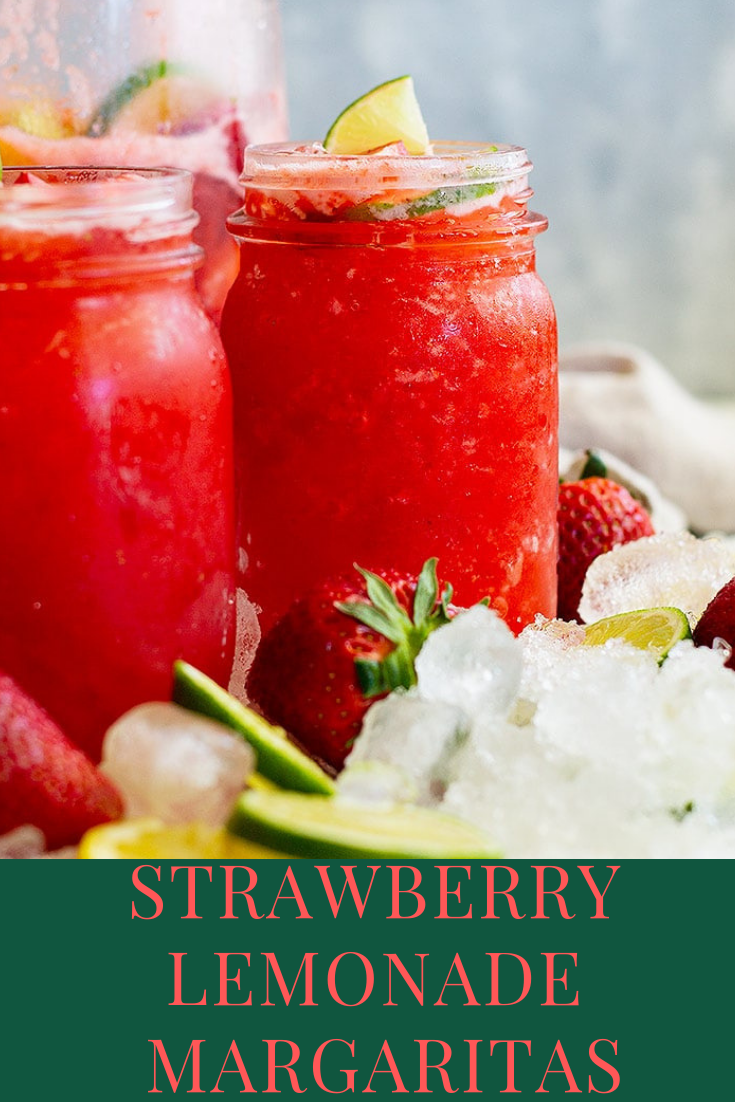 Strawberry Lemonade Margaritas #lemonadepunch