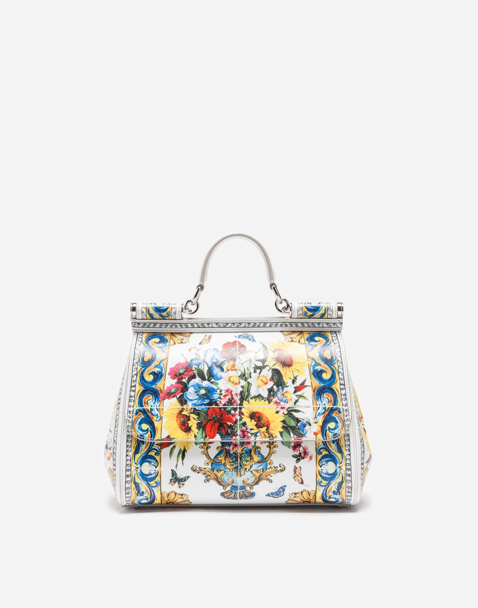 2aa9a7393417 DOLCE   GABBANA MEDIUM SICILY BAG IN PRINTED DAUPHINE LEATHER.   dolcegabbana  bags  lace  leather  lining  shoulder bags  hand bags   cotton