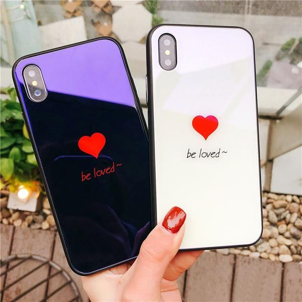 b695d4628e Anti-scratch Blue Laser Love Heart Back Cases For iPhone 6 6S 7 8 Plus X  High Quality Tempered Glass+TPU Protector case