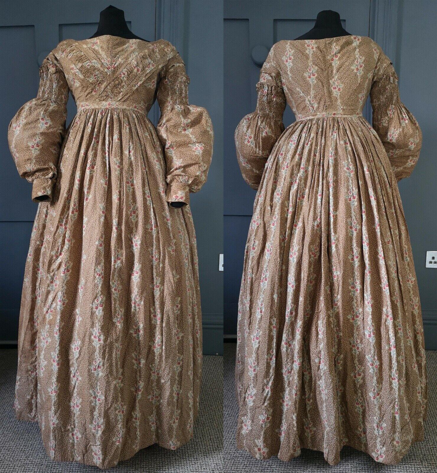 Striking 1830s Floral Print Dress / Victorian