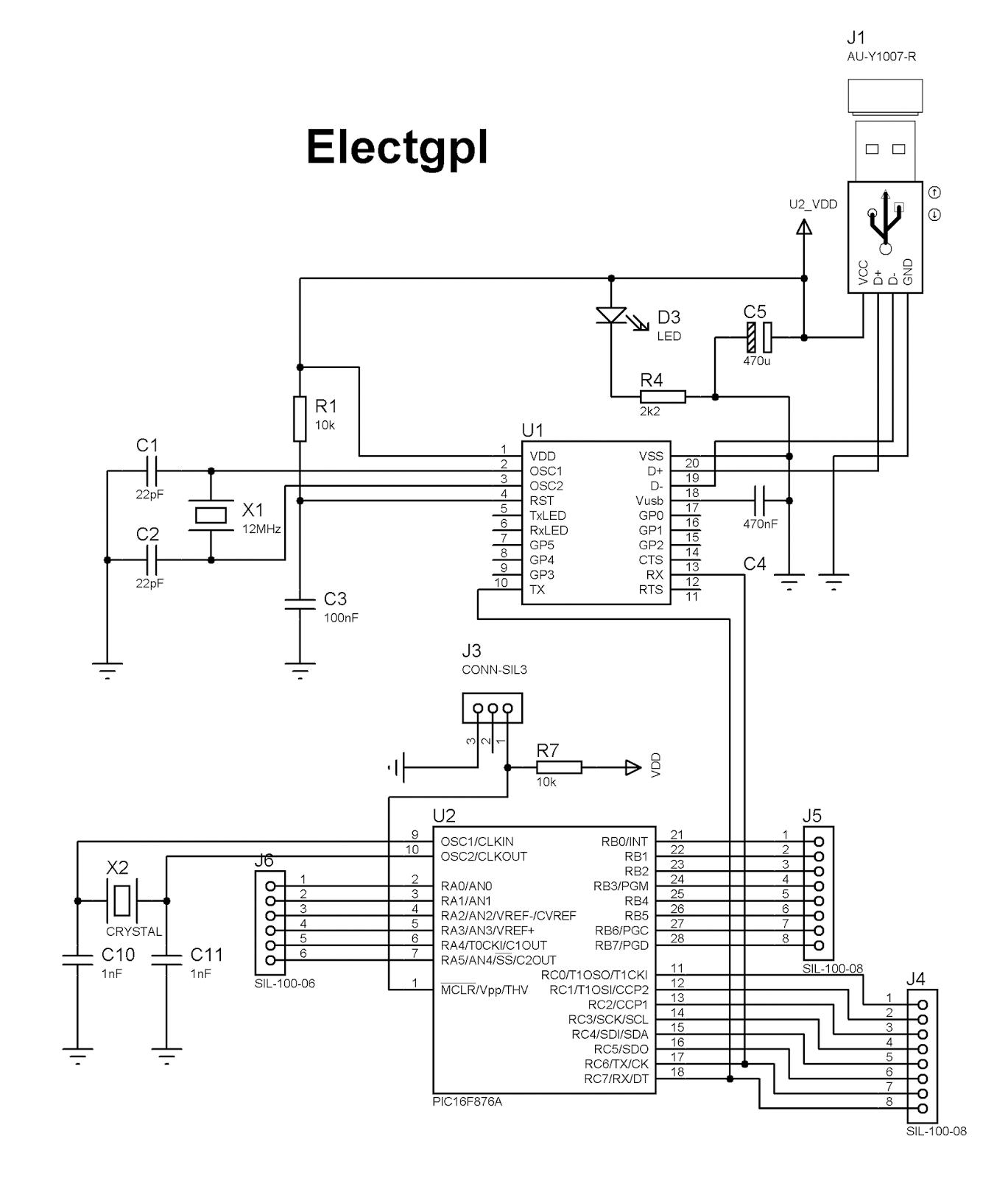 electgpl  placa de desarrollo usb para pic16f876a