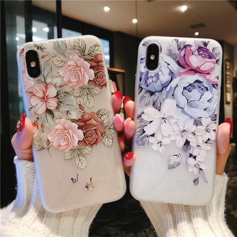 Kisscase Case For Samsung Galaxy A50 A70 A30 A20 M10 M20 3d Relief Soft Silicone Flowers Case For Samsung S Pattern Phone Case Iphone Cases Silicone Phone Case