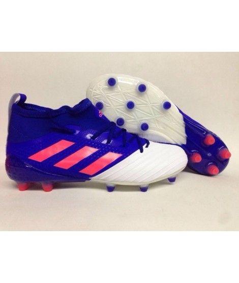 new arrival e36a1 c895c Adidas Ace 17.1 Primeknit Leather Firm Ground menn fotballsko blå hvit rosa