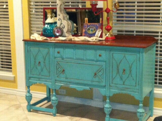 DIY Chalk Paint Sideboard Turquoise
