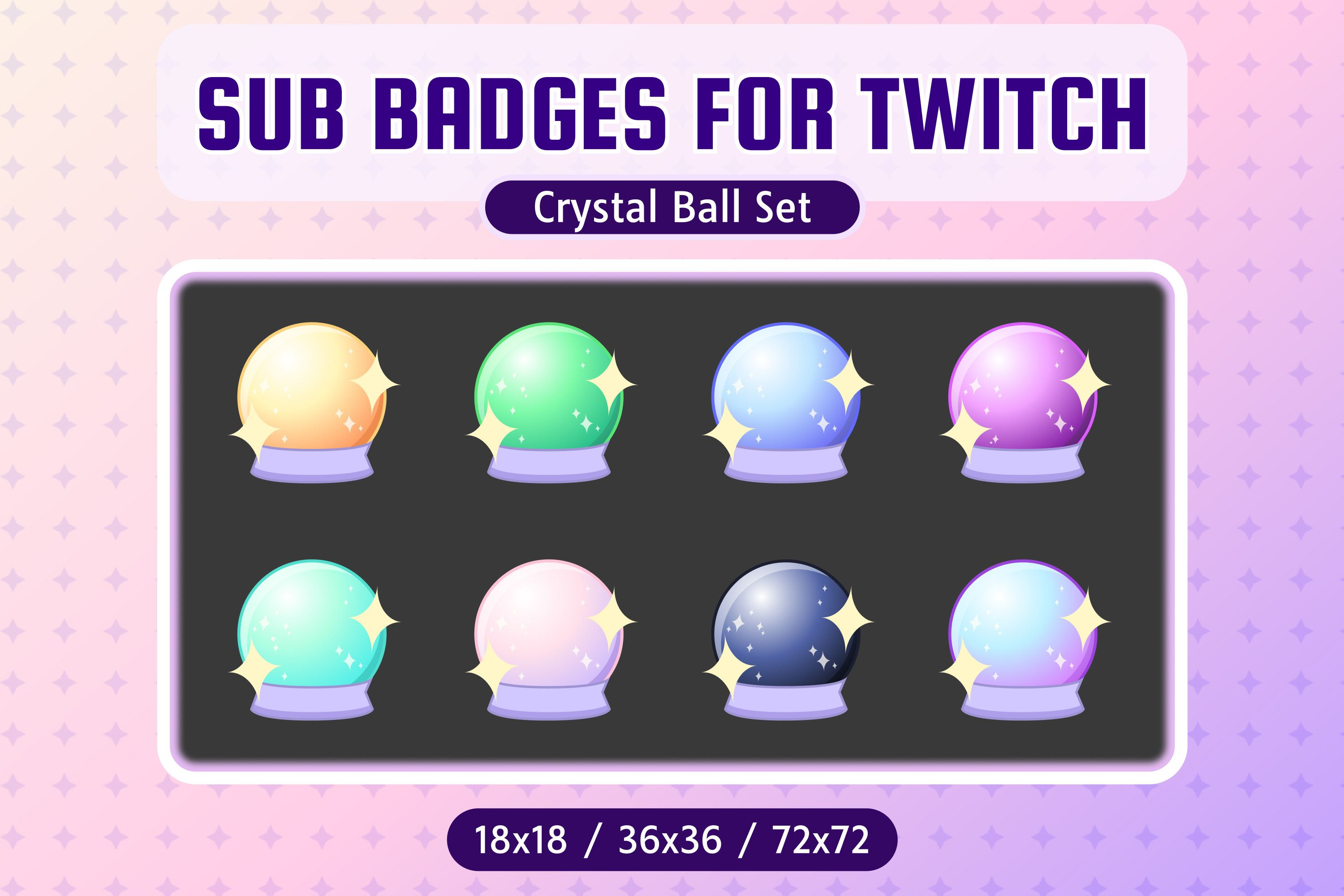 Twitch Sub Badges Crystal Ball Bit Badges Streamer Etsy In 2021 Crystal Ball Twitch Badge