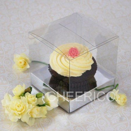 """25 X of 1 Clear 3.54""""cupcake Box with Silver Cupcake Holder($1.20 Per Set)"""