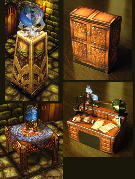 Fantasy Paper Miniature Models Hero Quest Style Furniture