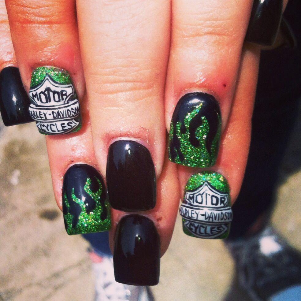Harley Davidson nail art 3D green flames freehand - Harley Davidson Nail Art 3D Green Flames Freehand Nail Designs