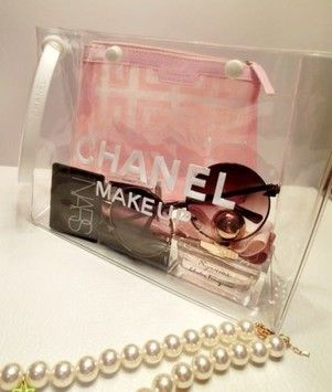 56b5ccee5 Chanel clear cosmetic makeup bag/pouch brand new. Get the lowest price on  Chanel