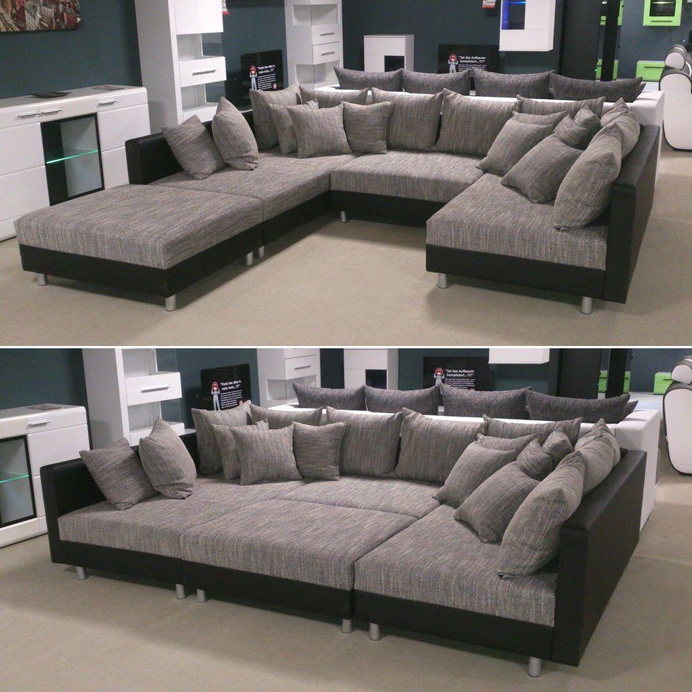 Details Zu Wohnlandschaft Claudia Xxl Ecksofa Couch Sofa Mit Hocker Schwarz Und Graubeige Wohnzimmerdesign Wohnzimmer Design