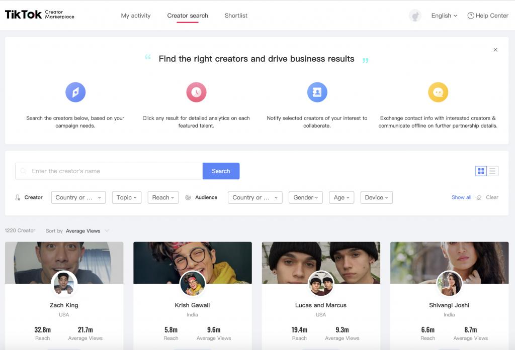 Tiktok Adds New Analytics Element To Creator Marketplace Marketing Solution Analytics English Help