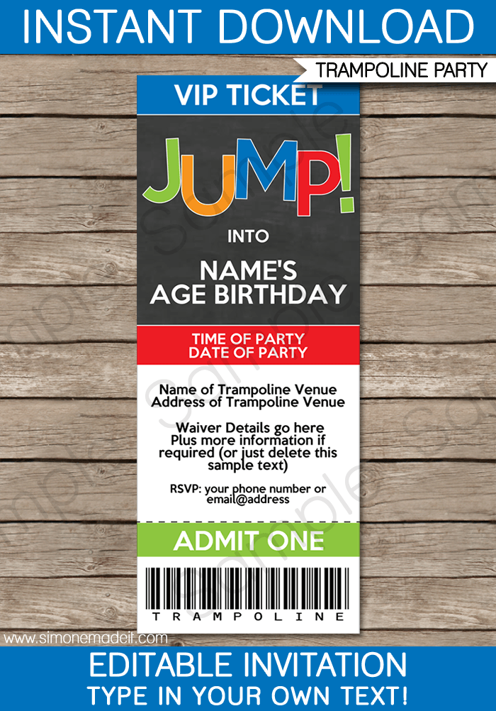 trampoline party ticket invitations template  u2013 boys