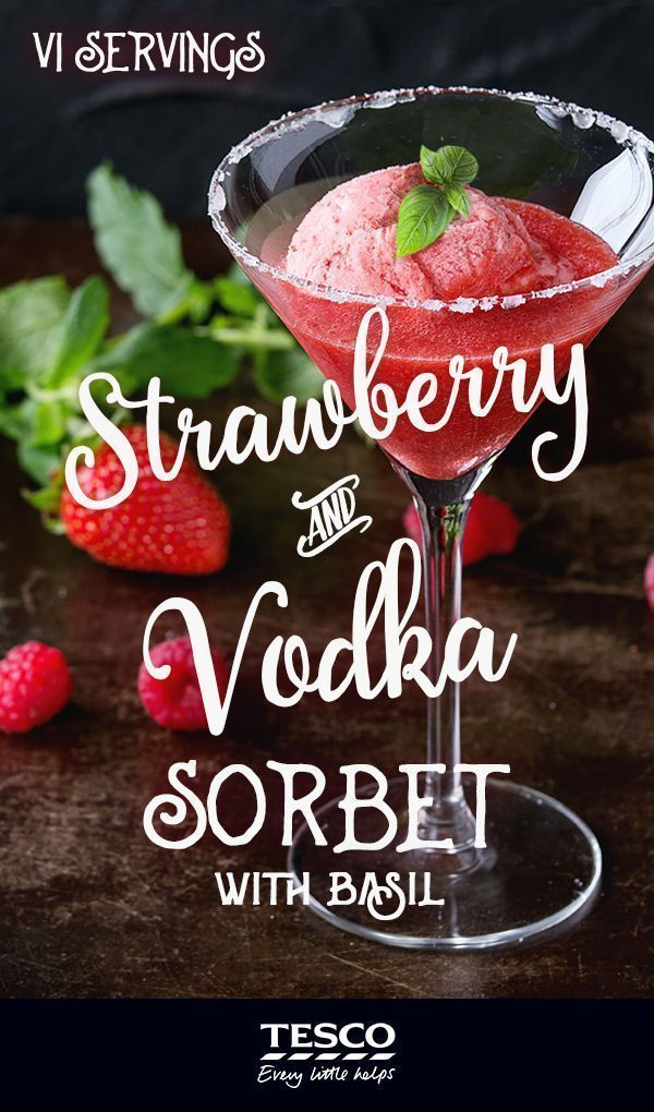 Vodka, Strawberry and Basil Sorbet - This strawberry, basil and vodka sorbet makes a stunning dessert. Don't be tempted to add more than one tablespoon of vodka or the sorbet won't freeze.  Prep time: 15 minutes Cook time: 120 minutes Servings: 6 people #vodkastrawberries Vodka, Strawberry and Basil Sorbet - This strawberry, basil and vodka sorbet makes a stunning dessert. Don't be tempted to add more than one tablespoon of vodka or the sorbet won't freeze.  Prep time: 15 minutes Cook ti #vodkastrawberries
