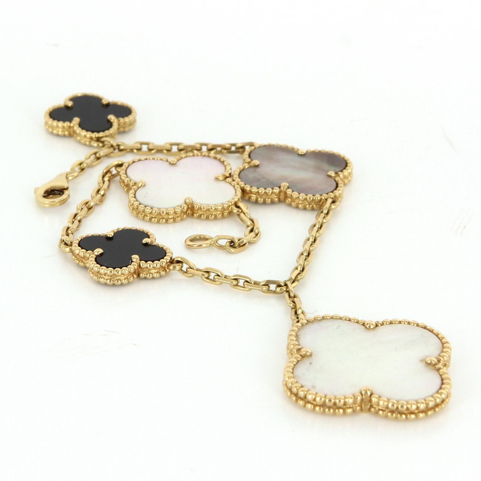 estate van cleef arpels magic alhambra 18 karat gold mop onyx