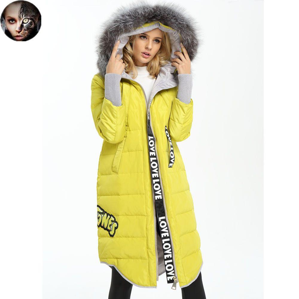 6f49f573c7d MissFoFo 2016 Новый Пуховик Мода Жакет Сплошной Цвет Натуральный Мех  длинные прямые женский с капюшоном меховой воротник вниз пальто верхняя  одежда купить ...