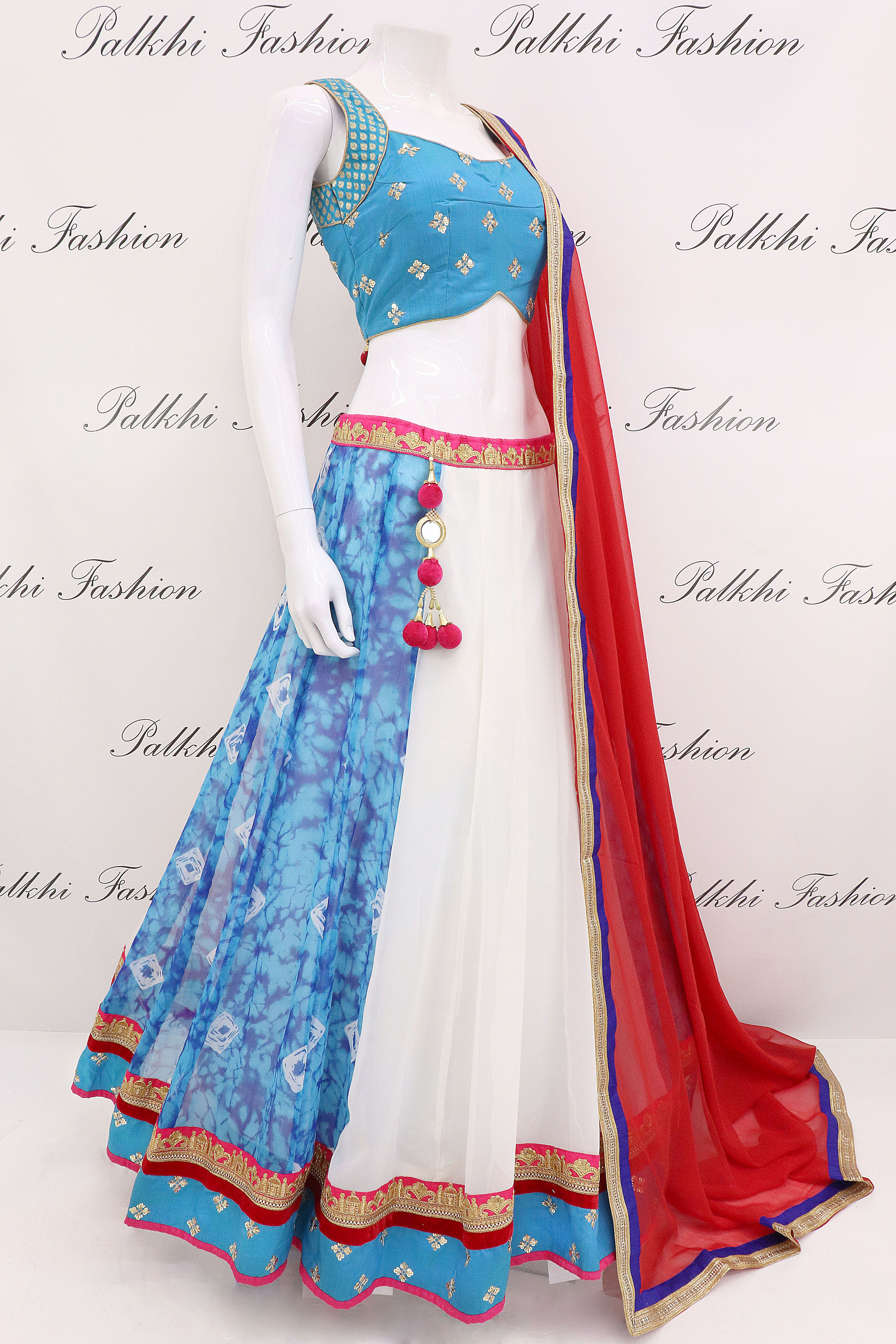 0beee118a7 Georgette Full Flair White Chaniya Choli With Attractive Color Combination