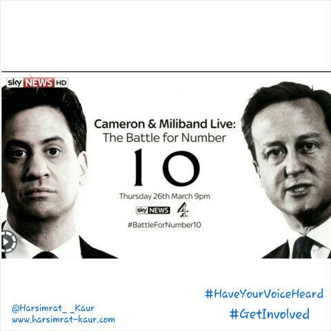 """Looking forward to """"Cameron & Miliband: The Battle for Number 10""""  The first debate of the election campaign!  #GetInvolved #HaveYourVoiceHeard"""