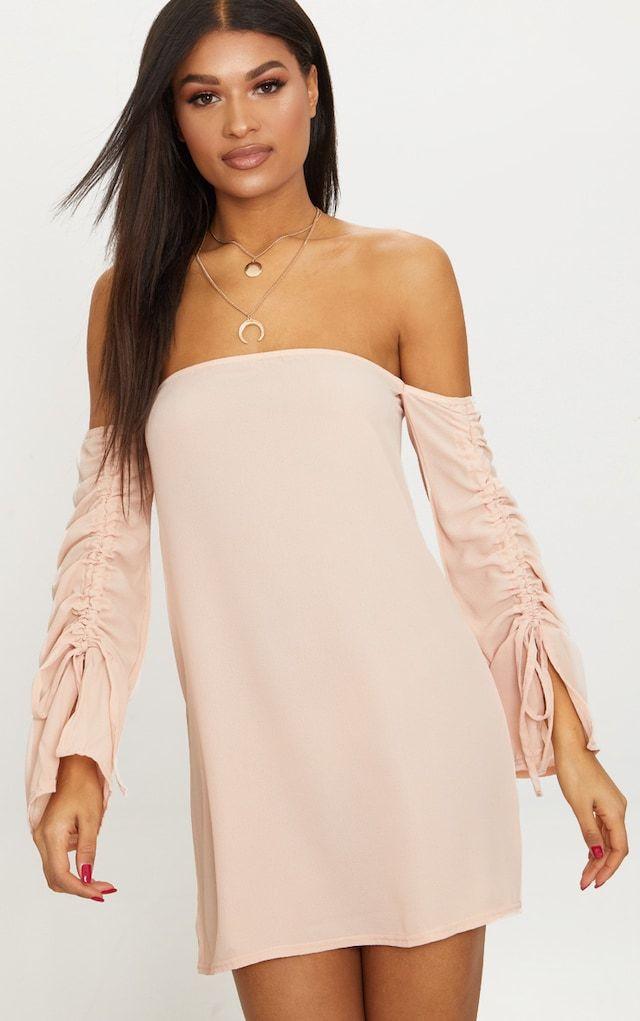 Lemon Bardot Tie Detail Smock Dress Pretty Little Thing Sale Pick A Best 0tPe44aK