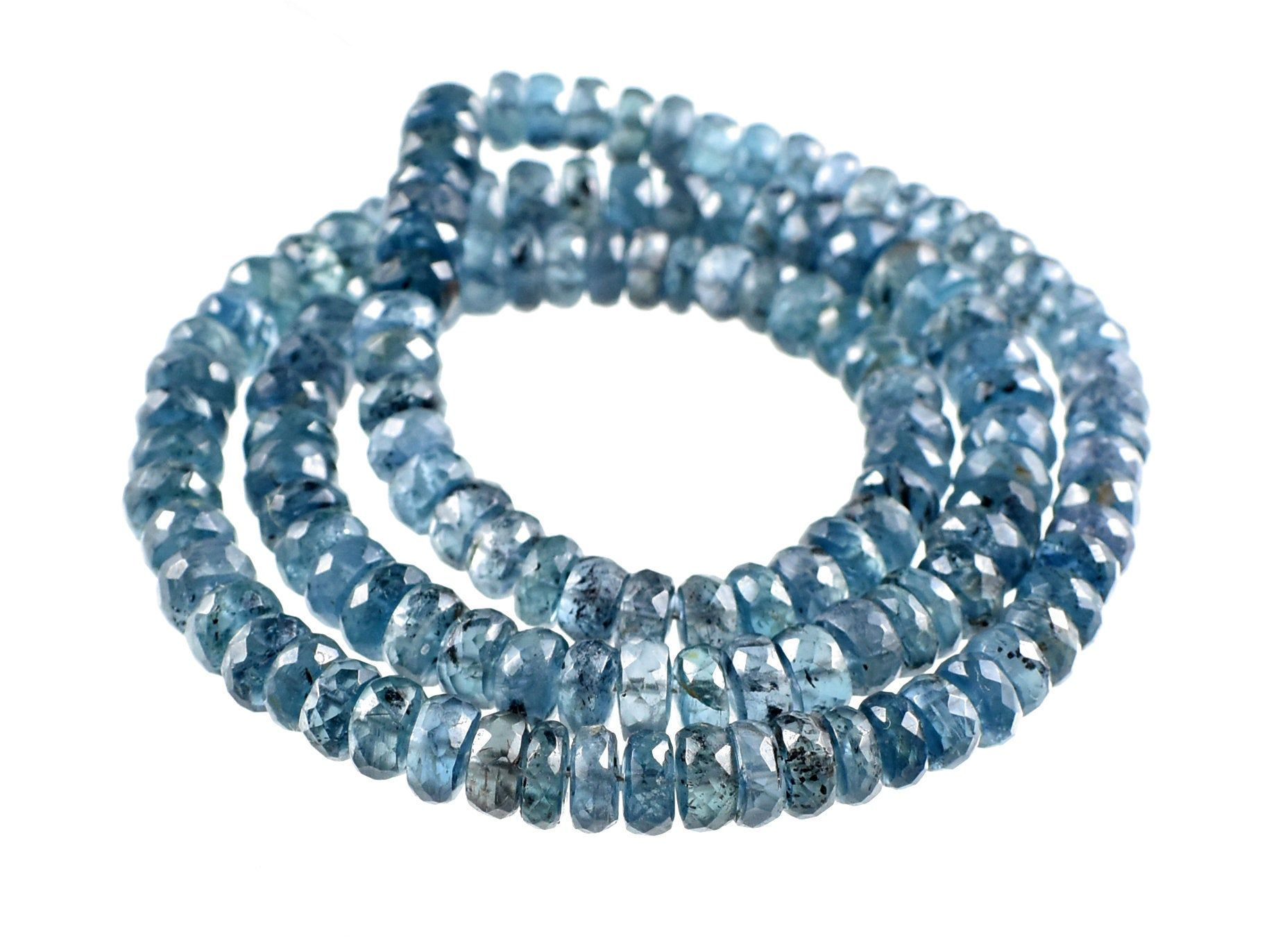 Teal Blue Kyanite Gemstone Moss Kyanite Rondelle Beads Natural Indigo Kyanite Faceted Beads Shape 6-7 MM 16 Inch Strand RGP140-05