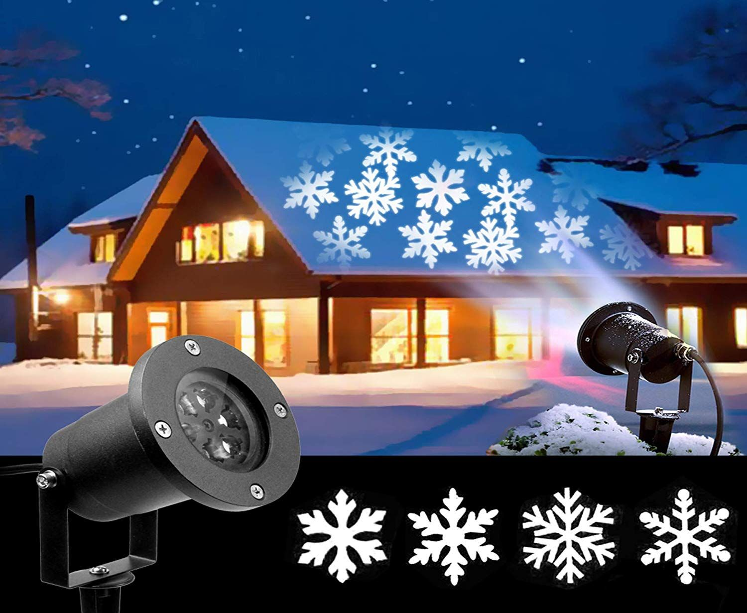 2018 Newest Christmas Lights White Moving Snowflake Light Projector Holiday Outdoor Decorations W Laser Christmas Lights Christmas Lights New Christmas Lights