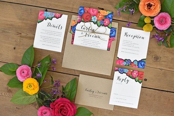 Invitaciones de boda florales – colorido Oaxaca bordado inspirado – moderno – Hacienda Destino boda invitación (Carley Suite)