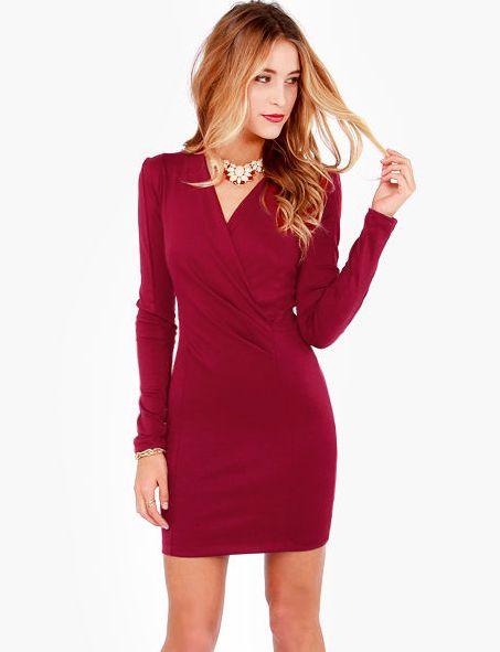 6070c237 Dark Red V Neck Long Sleeve Slim Bodycon Dress 17.17 | hot rags ...