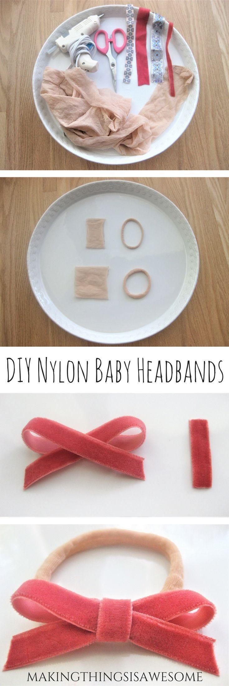 DIY Baby Nylon Headband with a Super Cute Bow! - Tutorial #diybabyheadbands
