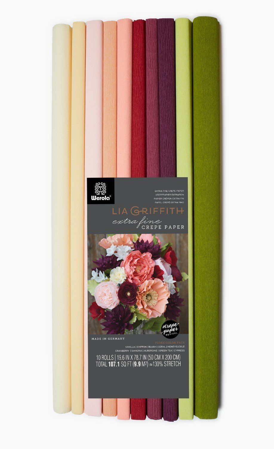10.7-Square Feet Assorted Lia Griffith Extra Fine Crepe Paper Folds Rolls