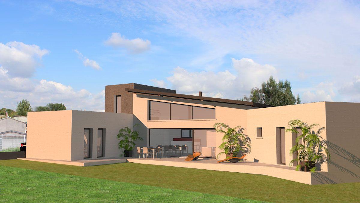 Maison contemporaine à toits terrasse et monopente en zinc à côté de ...