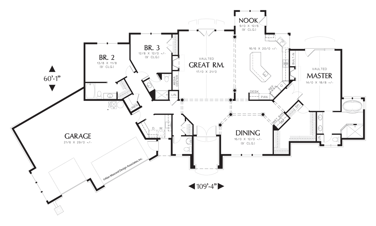 Contemporary One Story Plan With Rear View Plan 1225 The Hayden Is A 2670 Sqft Contemporary Prairie R Contemporary House Plans House Plans House Floor Plans