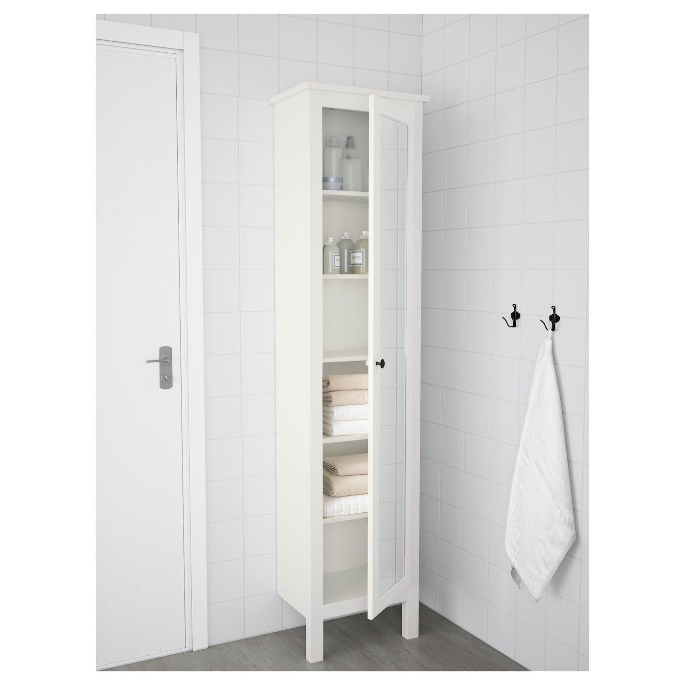 HEMNES Vysoká skrinka so zrkadlom, biela, 4x4x4 cm - IKEA in