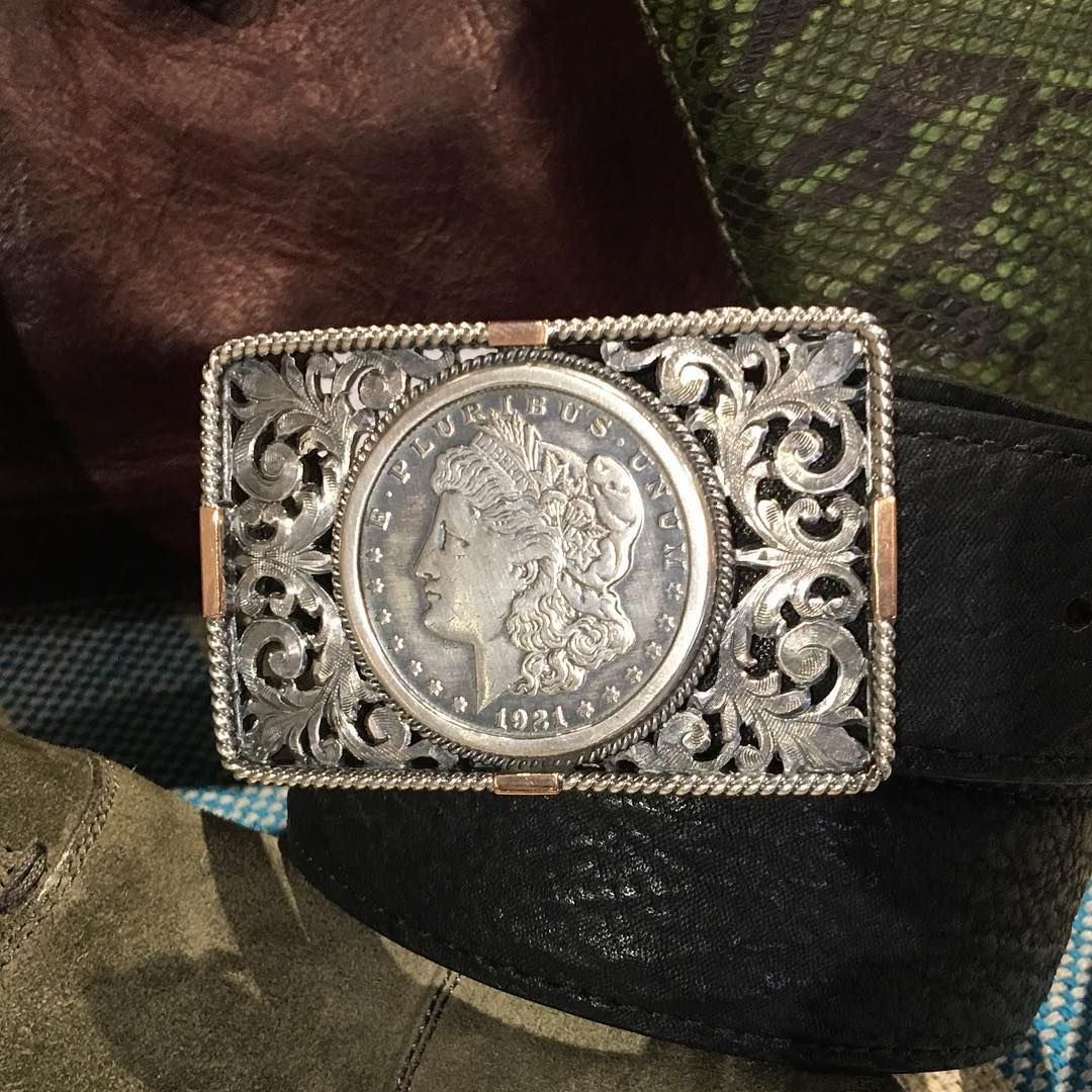 One Of Our Favorite Belt Buckles Angelina Hand Made Sterling Silver Filigree Silver Rope Edge With Rose Gold Mo Belt Buckles Morgan Silver Dollar Buckles
