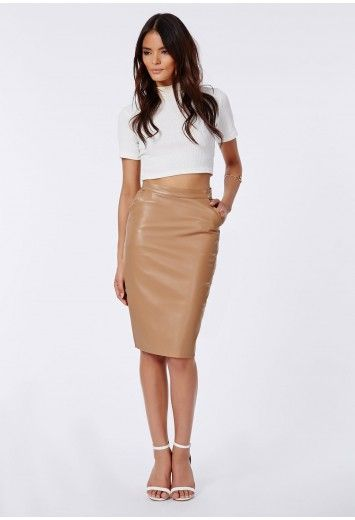Look simply delish in our camel coloured leather pencil skirt ...