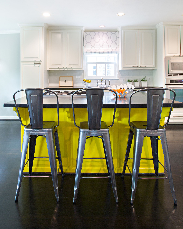 Kitchen Island Yellow Chairs