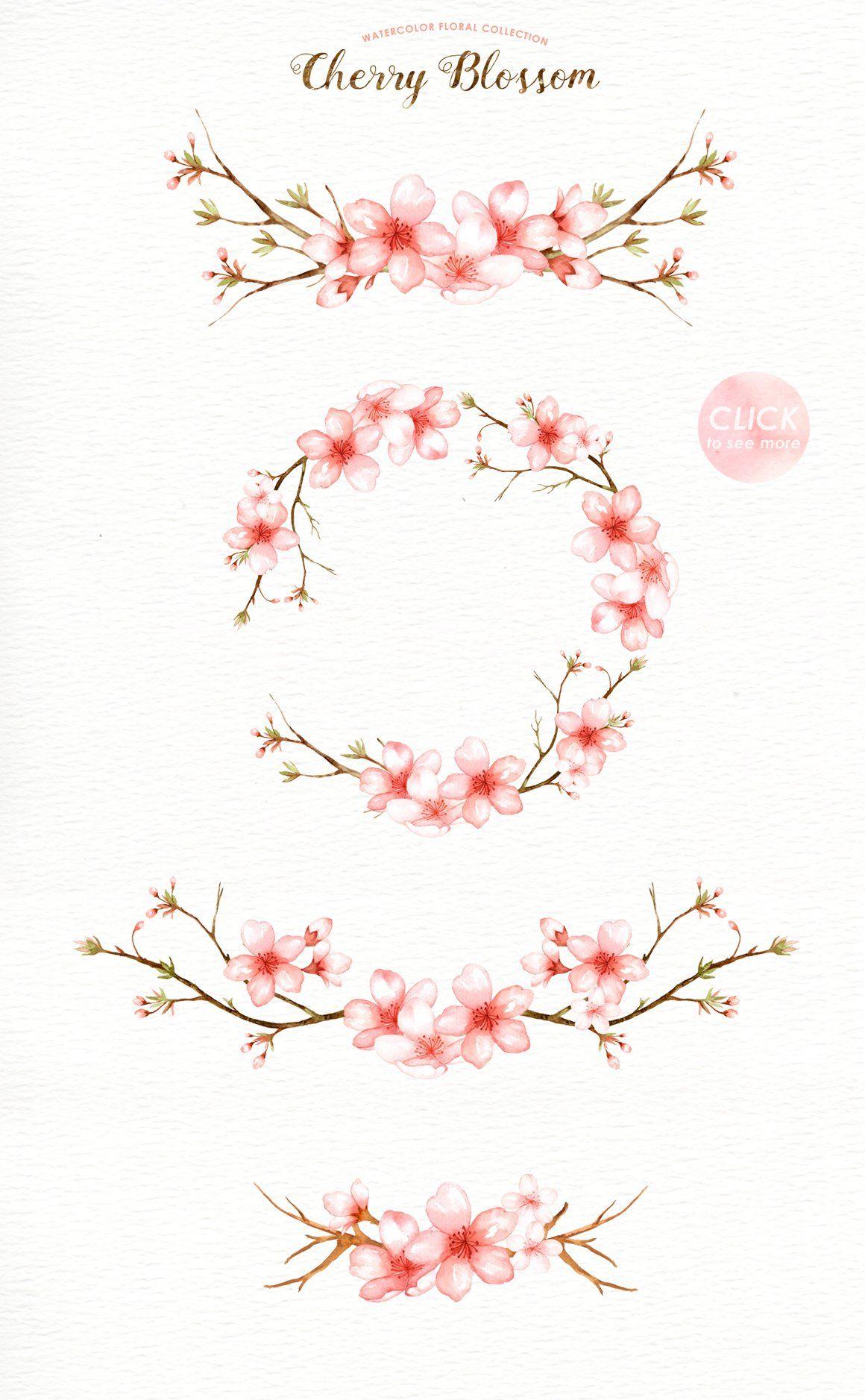 Cherry Blossom Watercolor Clip Art Cherry Blossom Watercolor Cherry Blossom Tattoo Cherry Blossom Art