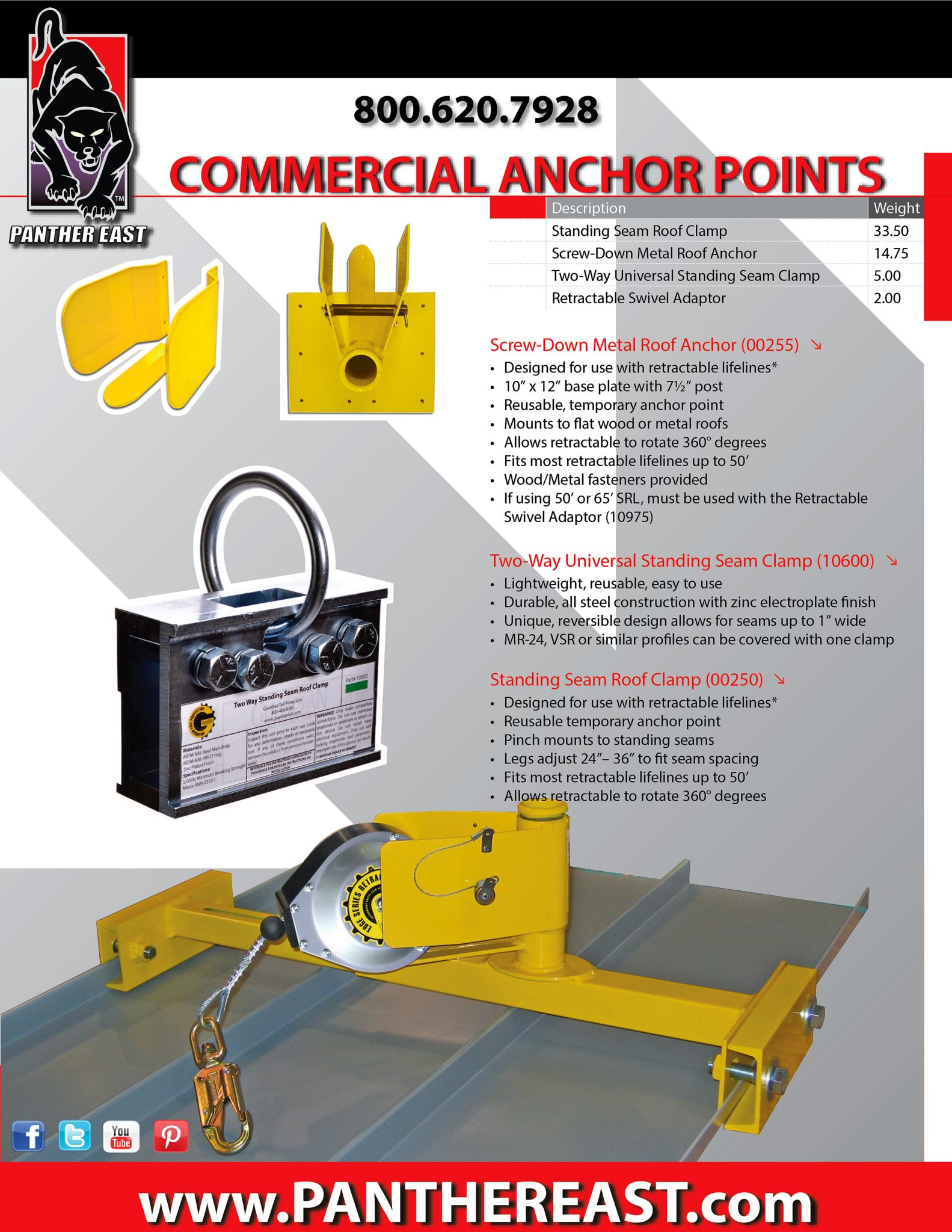 Standing Seam Roof Fall Protection Equipment Www Panthereast Com Standing Seam Roof Standing Seam Roofing Equipment