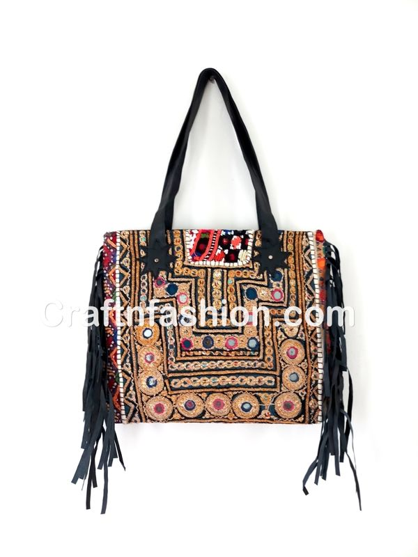 23027e534e Ethnic Boho Leather Fringe HandBag- Tribal Hand Embroidered Banjara Leather  Fringe Handbag