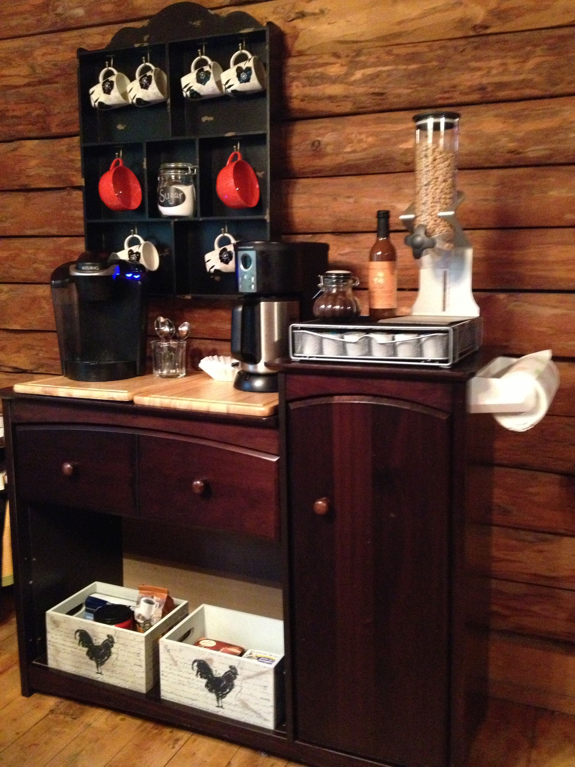 Old changing table repurposed into a coffee bar baby changing