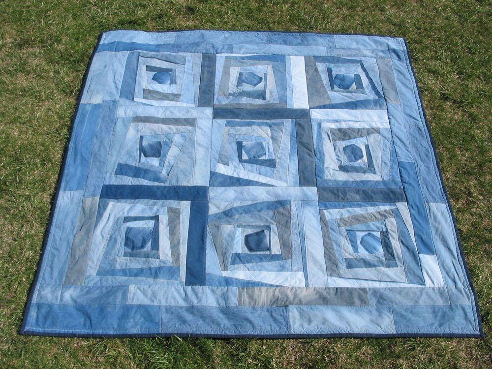 """KING Denim Quilt Soft """"MINKY"""" Reversible Handmade 108""""x108"""" Comforter Blanket (380) Thin bat, Rag Quilt Back."""