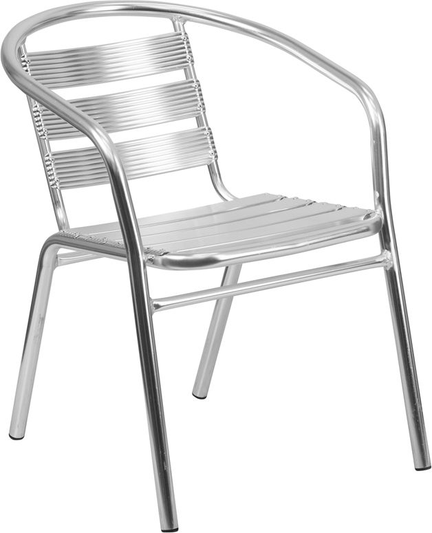 Marvelous Heavy Duty Aluminum Commercial Indoor Outdoor Restaurant Stack Chair With  Triple Slat Back [TLH